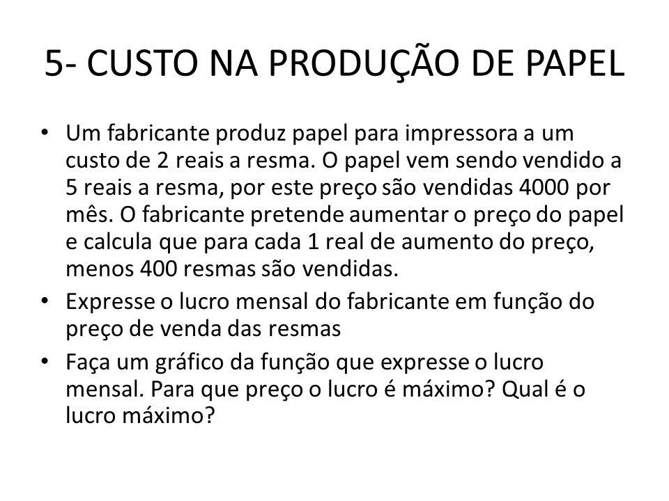 6- CUSTO NA VENDA DE UM CERTO PRODUTO • Um fabricante pretende vender um certo produto por 110 reais a unidade.
