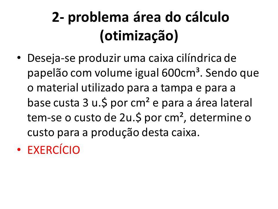 3- Exercício: Iniciando a modelagem • Pretendo abrir uma industria de sucos enlatados, porém estou com problemas para determinar as dimensões que deverão ter as latas cilíndricas contendo 355 ml de suco.
