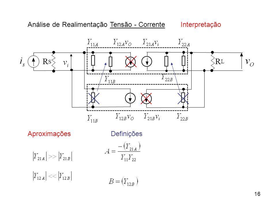 17 Análise de Realimentação Tensão - Corrente Definições Interpretação Resultado Rede A com efeito de carga da realimentação B - realimentação Procedimentos .