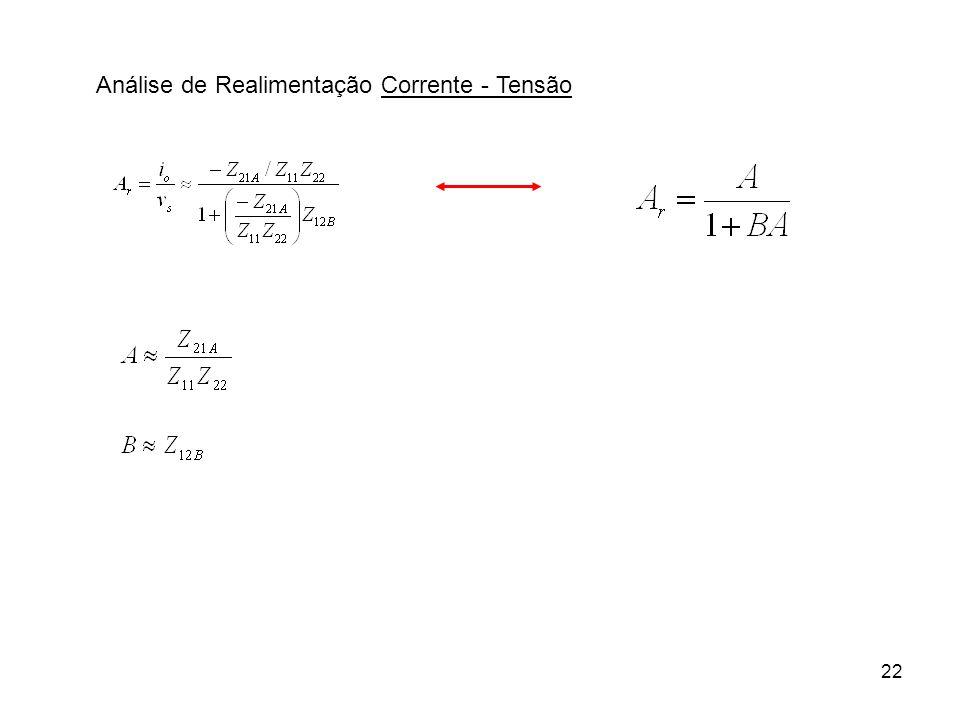 23 Análise de Realimentação Corrente - TensãoInterpretação Sem realimentação ( v f = 0) Com i S = 0 Procedimentos .