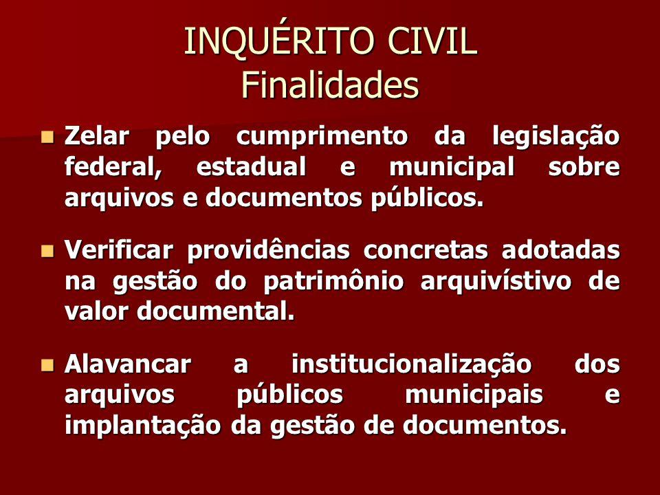 INQUÉRITO CIVIL Finalidades  Verificar a prática de ilícitos contra o patrimônio histórico-cultural e contra direitos individuais e coletivos.