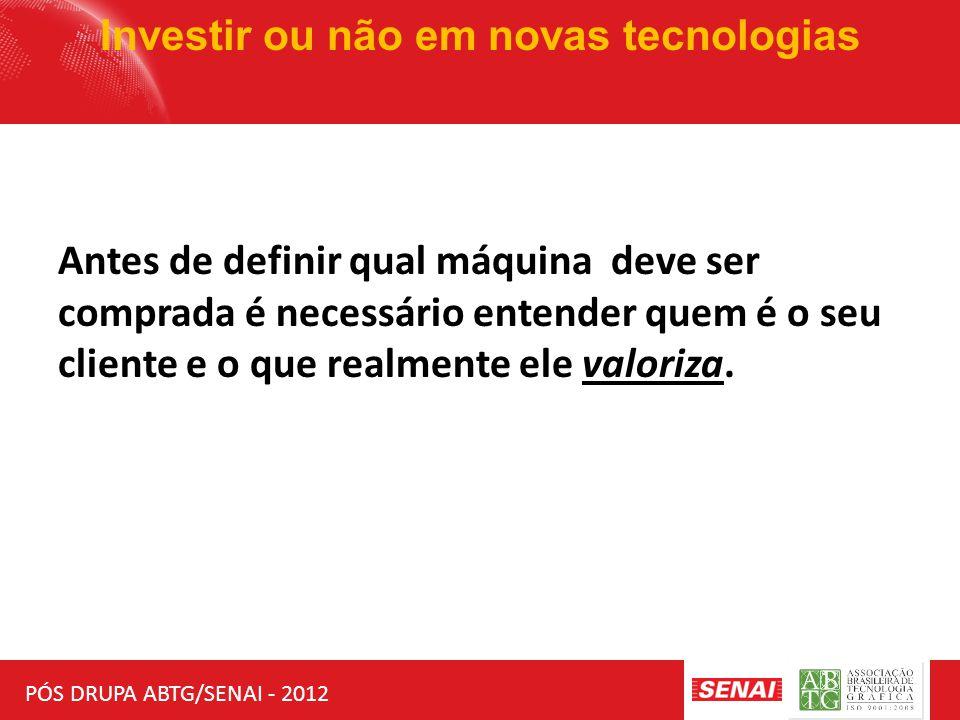 PÓS DRUPA ABTG/SENAI - 2012 Investir ou não em novas tecnologias INVESTIMENTO QUEM PAGA ?