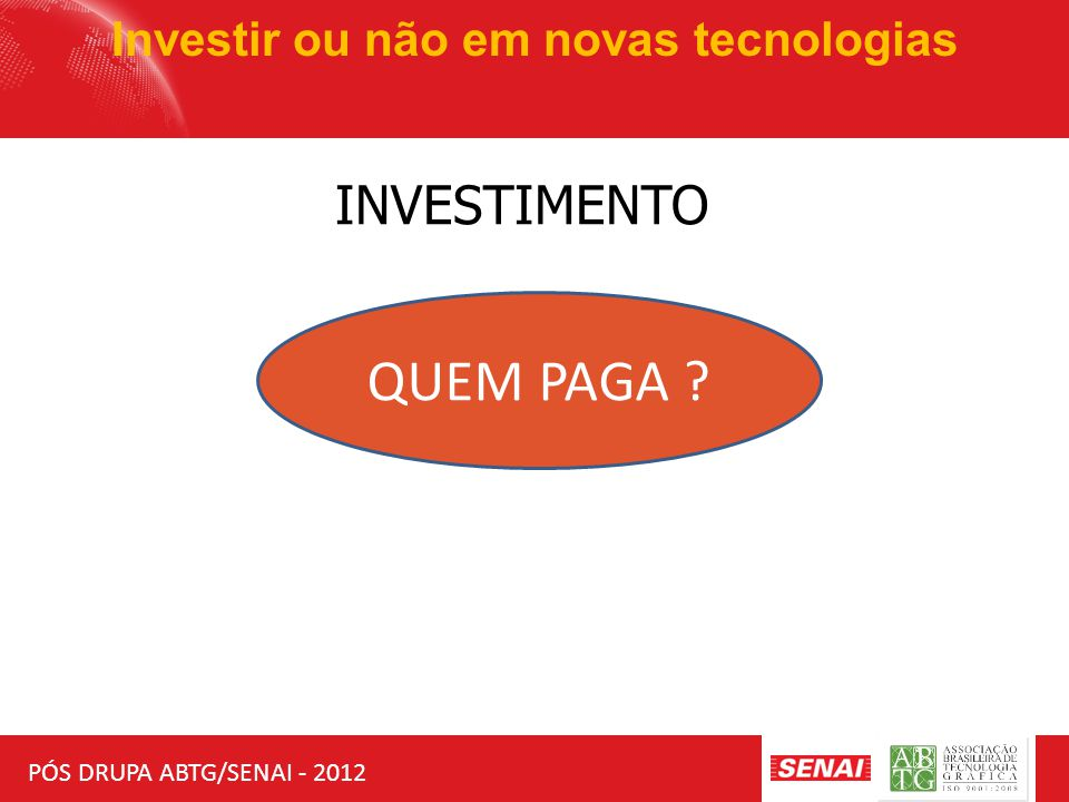 PÓS DRUPA ABTG/SENAI - 2012 Investir ou não em novas tecnologias INVESTIMENTO QUEM PAGA .
