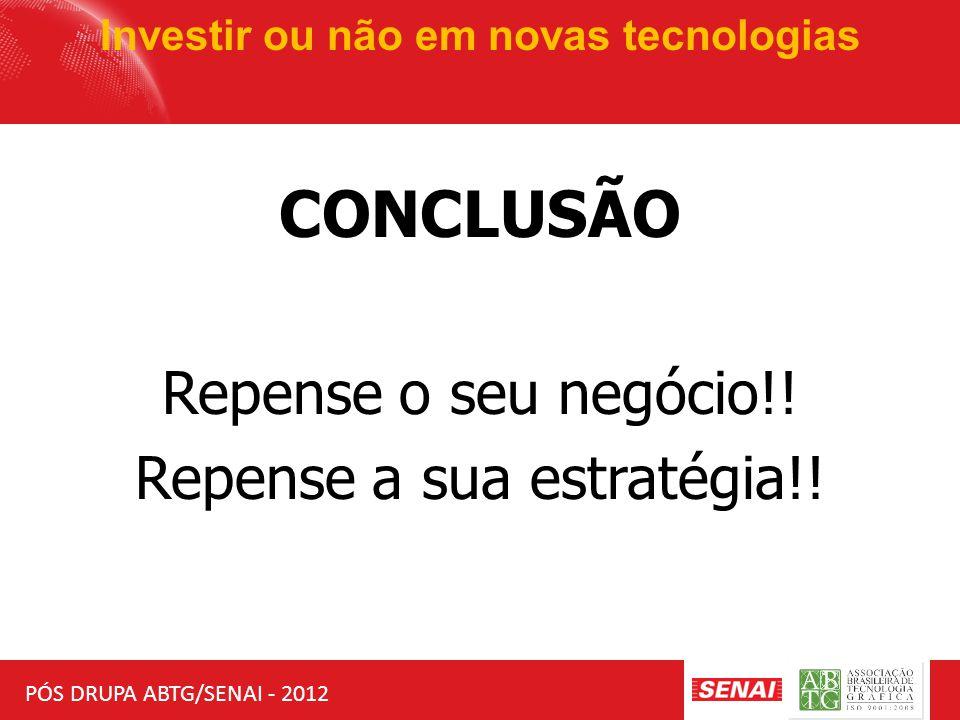 PÓS DRUPA ABTG/SENAI - 2012 Investir ou não em novas tecnologias MERCADO CLIENTES PRODUTOS / SERVIÇOS VALOR TECNOLOGIAS TENDÊNCIAS