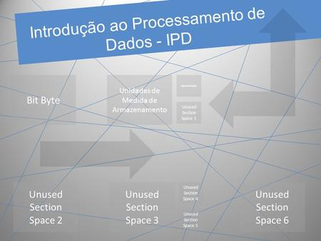 Introdução ao Processamento de Dados - IPD Bit Byte Unidades de Medida de Armazenamento Unused Section Space 2 Unused Section Space 3 Unused Section Space.