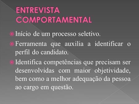 ENTREVISTA COMPORTAMENTAL