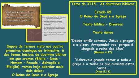 Tema do 3T15 – As doutrinas bíblicas Estudo 05