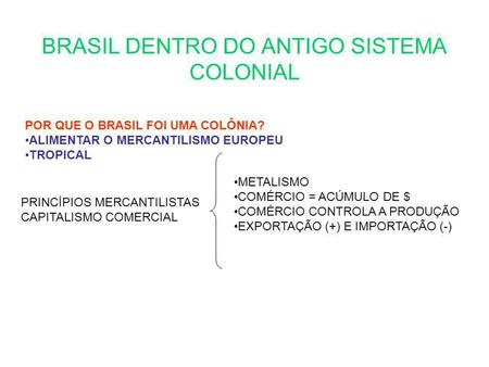 BRASIL DENTRO DO ANTIGO SISTEMA COLONIAL