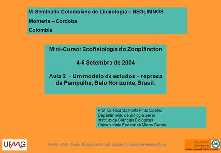 Mini-Curso: Ecofisiologia do Zooplâncton