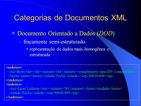 Categorias de Documentos XML