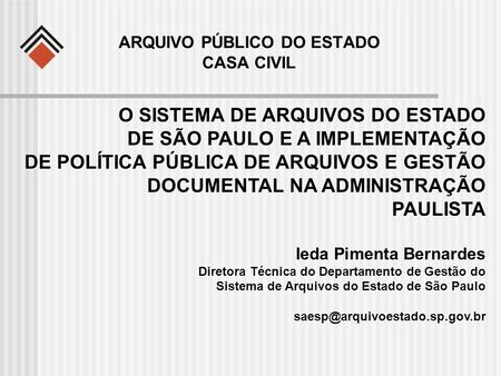 ARQUIVO PÚBLICO DO ESTADO CASA CIVIL