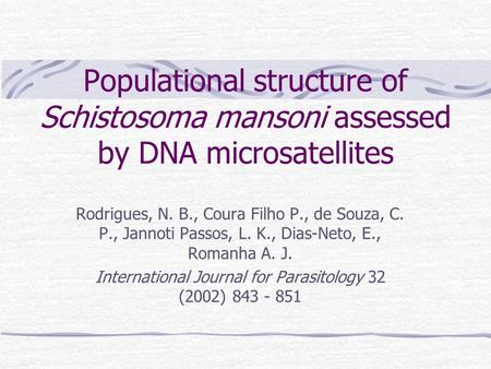 International Journal for Parasitology 32 (2002)