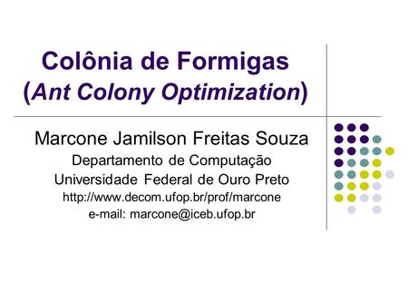 Colônia de Formigas (Ant Colony Optimization)