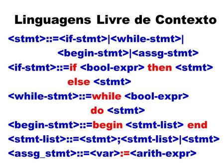 Linguagens Livre de Contexto ::= | | | ::=if then else ::=while do ::=begin end ::= ; | ::= :=