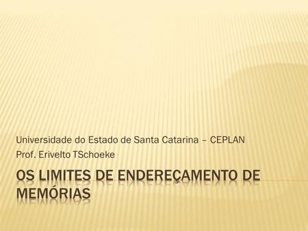 Universidade do Estado de Santa Catarina – CEPLAN Prof. Erivelto TSchoeke.