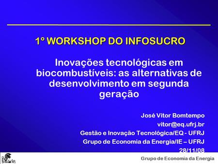 1º WORKSHOP DO INFOSUCRO