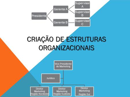 PresidenteGerente A Supervisor A Supervisor B Gerente B Supervisor C Vice-Presidente de Marketing Diretor Marketing Região Nordeste Diretor Marketing Região.