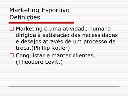 Marketing Esportivo Definições