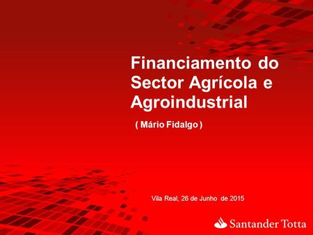 Financiamento do Sector Agrícola e Agroindustrial ( Mário Fidalgo )