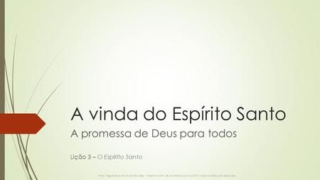A vinda do Espírito Santo