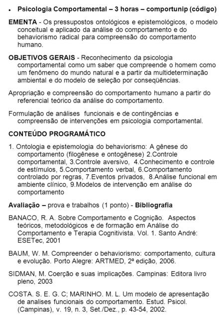 Psicologia Comportamental – 3 horas – comportunip (código)‏