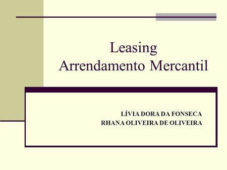 Leasing Arrendamento Mercantil