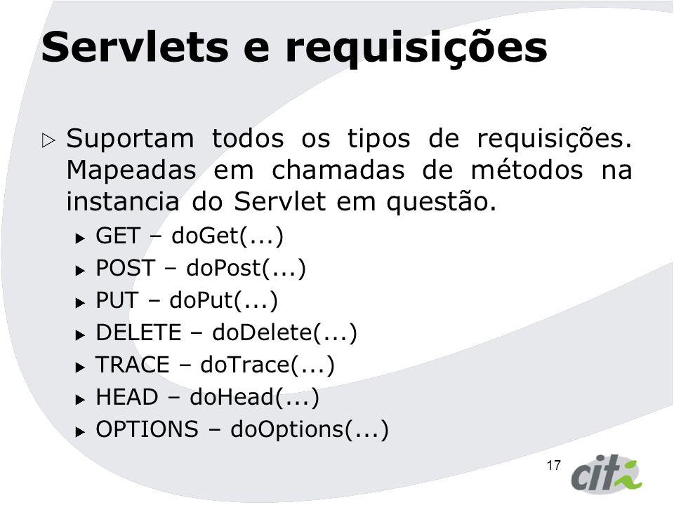 18 Servlets e requisições CaracterísticasGETPOST Tipo de dadosTextoTexto ou binário Quantidade de dados Máximo de 255 caracteres Ilimitado VisibilidadeDados fazem parte da URL e podem ser vistos Dados não fazem parte da URL e sim do corpo da mensagem.