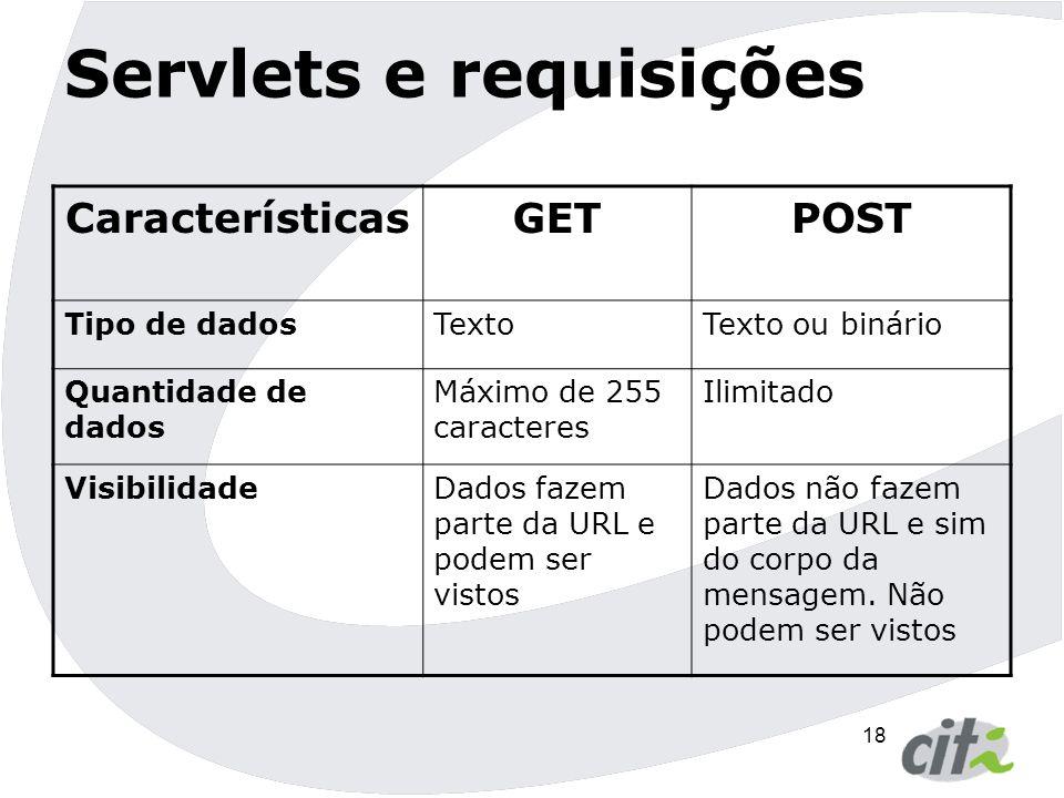19 Servlets e requisições  Exemplos  GET http://www.cin.ufpe.br/servlet/ServletProcurar?numero=12&c odigo=1  POST