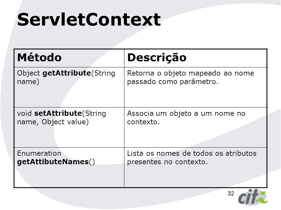 33 ServletContext MétodoDescrição Enumeration getInitParameterNames() Retorna o nome de todos os parâmetros de inicialização.
