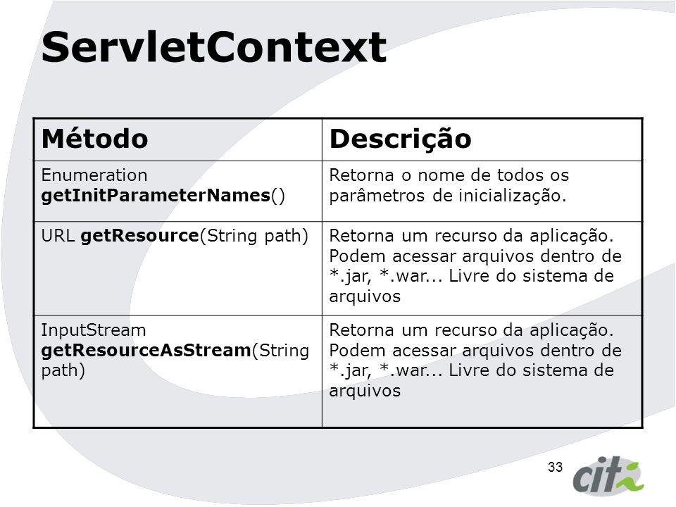 34 ServletContext MétodoDescrição ServletContext getContext(String uri)Retorna o contexto da URI passada como parâmetro.