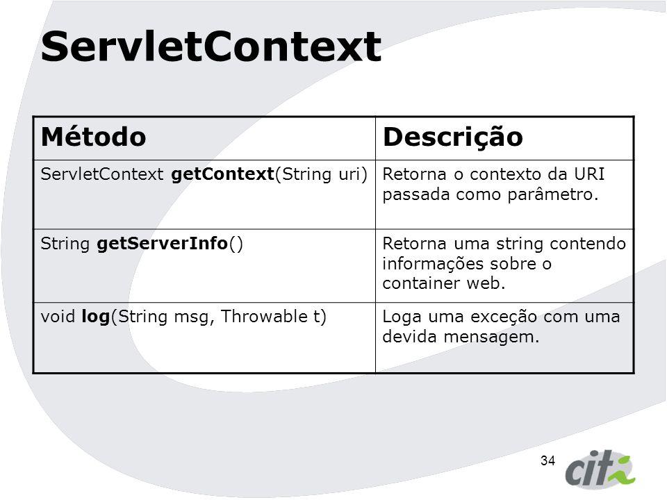 35 ServletContext MétodoDescrição String getMimeType(String file)Retorna o mime do arquivo especificado ou null se o mime não eh conhecido String getRealPath(String path)Retorna uma string contendo o caminho real do caminho relativo passado como parâmetro.