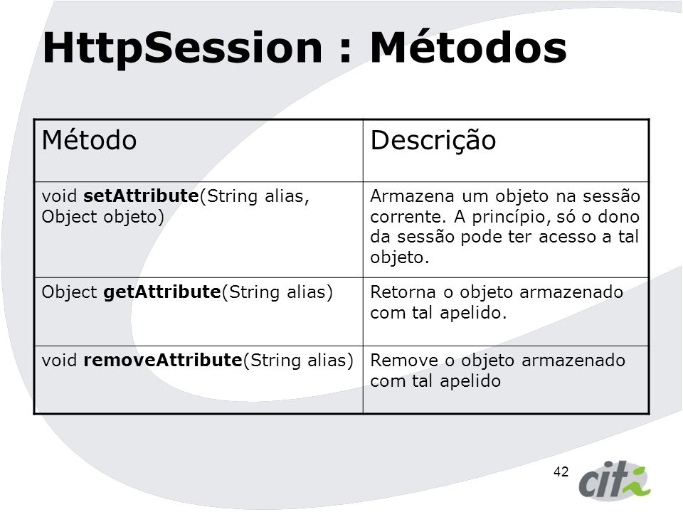 43 HttpSession : Métodos MétodoDescrição void setMaxInactiveInterval(int segundos) Define quanto tempo a sessão poderá ficar inativa.