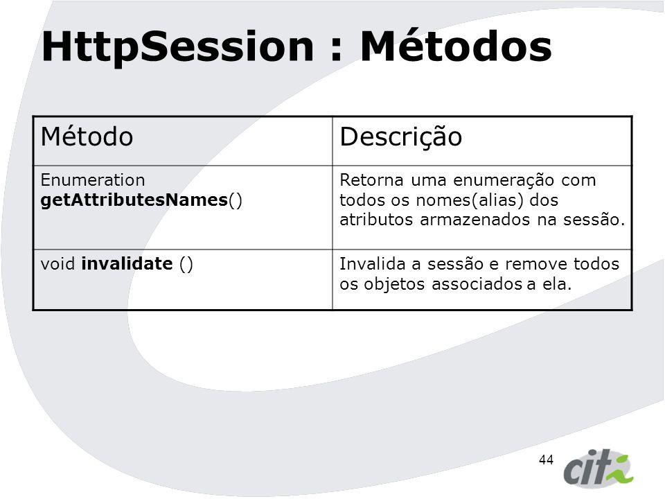 45 HttpSession  Pode-se definir o Timeout de uma sessão no deploymente descriptor da aplicação.