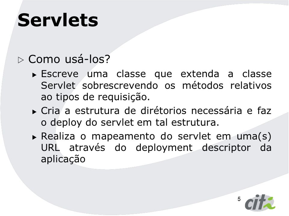 6 Servlet Hello World public class HelloWorldServlet extends HttpServlet { protected void doGet(HttpServletRequest request, HttpServletResponse response) throws ServletException, IOException { response.setContentType( text/html ); PrintWriter out = response.getWriter(); out.println( Hi ); out.println( ); out.println( Hello World!! ); out.println( ); out.close(); }