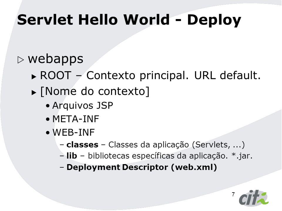 8 Servlet Hello World Deployment Descriptor (web.xml)  Arquivo que faz o mapeamento entre URLs e Servlets além de configurações de segurança, eventos, filtros,...