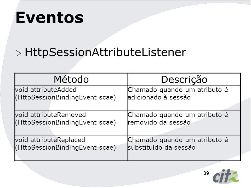 90 Eventos  Configurando: com.abcinc.MyServletContextAttributeListener  OBS: Apenas o nome da classe ouvinte precisa ser declarada, pois o container faz as devidas inferências.
