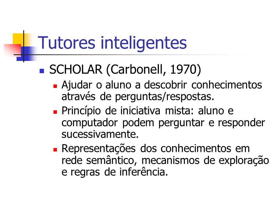 Tutores inteligentes SOPHIE (1973) SOPHisticated Instrucional Environment, laboratório para a determinação de defeitos em circuitos eletrônicos.