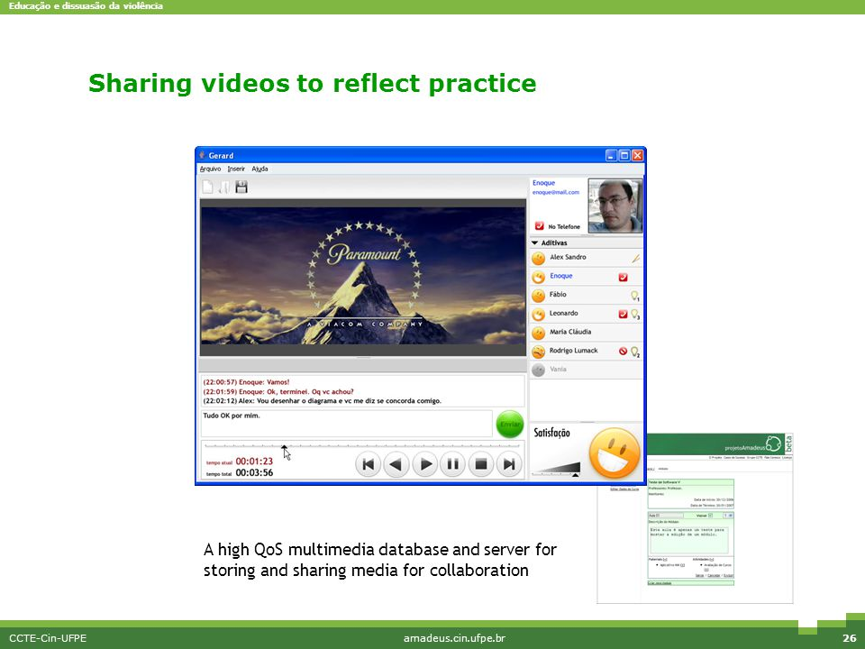 Educação e dissuasão da violência CCTE-Cin-UFPEamadeus.cin.ufpe.br27 Analyzing video collaboratively An easy to use collaborative multimedia player