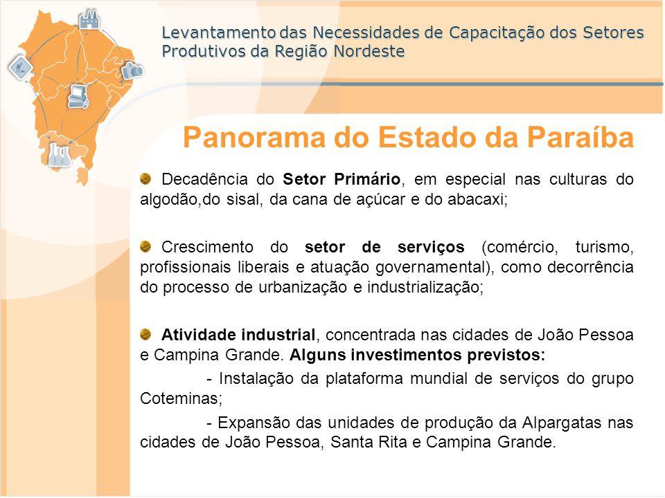 Levantamento das Necessidades de Capacitação dos Setores Produtivos da Região Nordeste Panorama do Estado da Paraíba Em termos de INFRA-ESTRUTURA Construção da primeira usina de energia eólica do Estado; Reforma do Aeroporto Castro Pinto; Ampliação da rede de energia elétrica em Campina Grande; Construção de viaduto em Campina Grande; Construção de alças viárias, serviços de esgotamento sanitário e construção de um Centro de Convenções em João Pessoa; Recuperação de áreas degradadas, serviços de paisagismo, saneamento e esgotamento sanitário; reurbanização de áreas e sinalização turística no Litoral SUL.