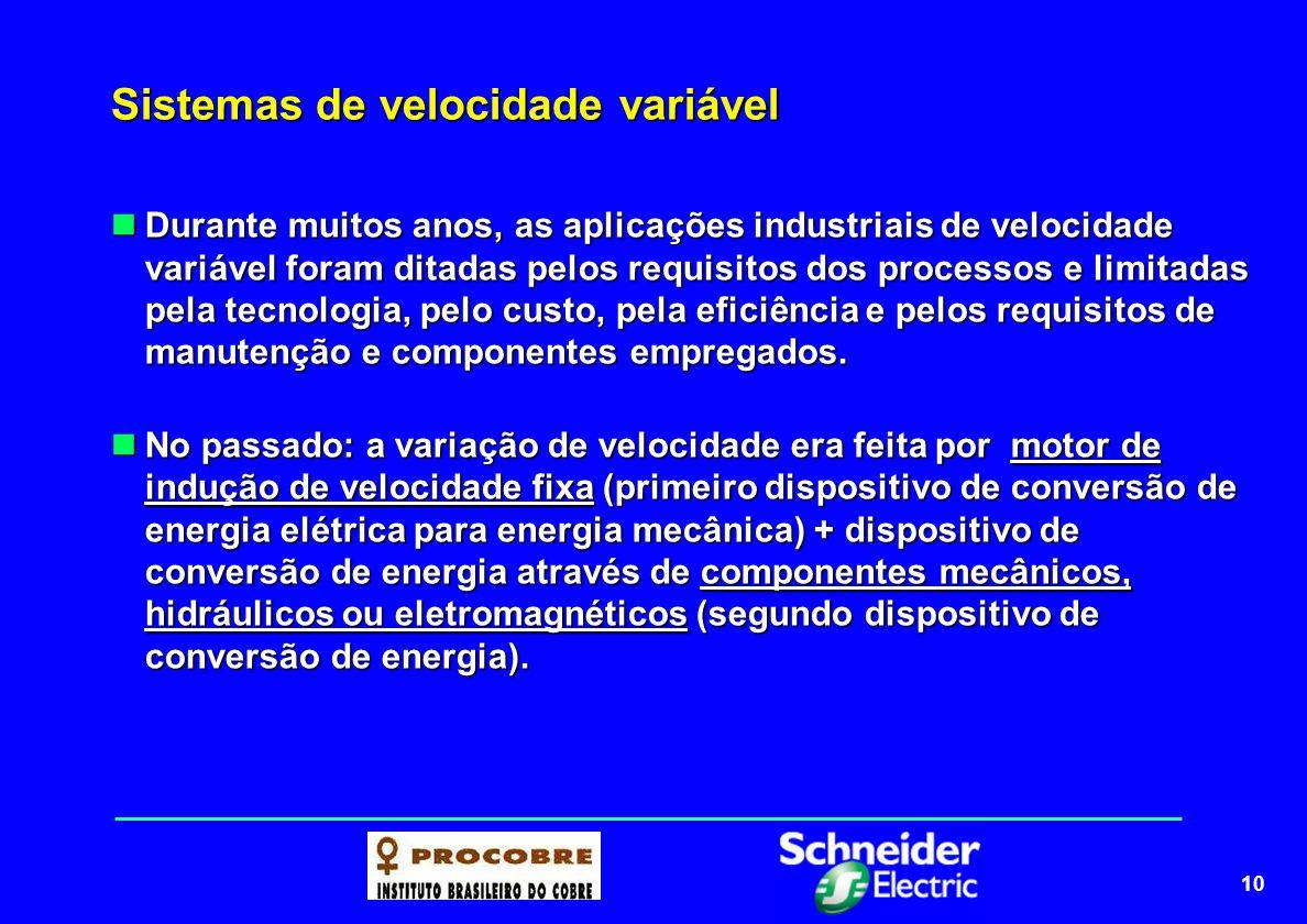 11 Sistemas de velocidade variável tradicionais VARIADORES MECÂNICOS VARIADORES MECÂNICOS Acoplamento por polias: redução ou ampliação de velocidade fixas, sem a possibilidade de uma variação contínua de rotação.