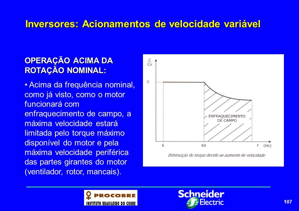 108 Inversores: Acionamentos de velocidade variável Curva de Torque x Frequência para uso de motor com inversor de frequência K = fator de redução de torque ( derating factor ) K está entre 0,7 a 1,0 e depende do conteúdo de harmônicas do inversor (valores típicos são de 0,8 a 0,9) ABC