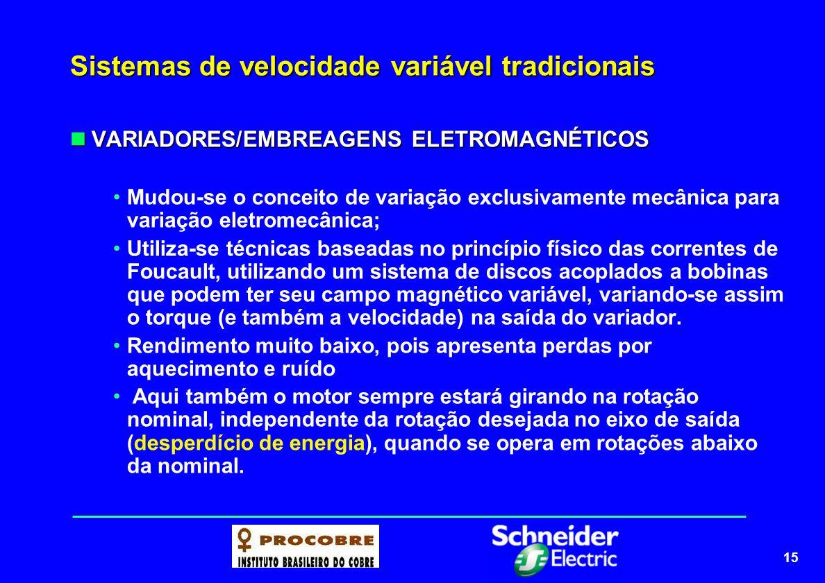 16 Sistemas de velocidade variável atuais Na década de 80, com o desenvolvimento de semicondutores de potência com excelentes características de desempenho e confiabilidade, foi possível a implementação de sistemas de variação de velocidade eletrônicos.