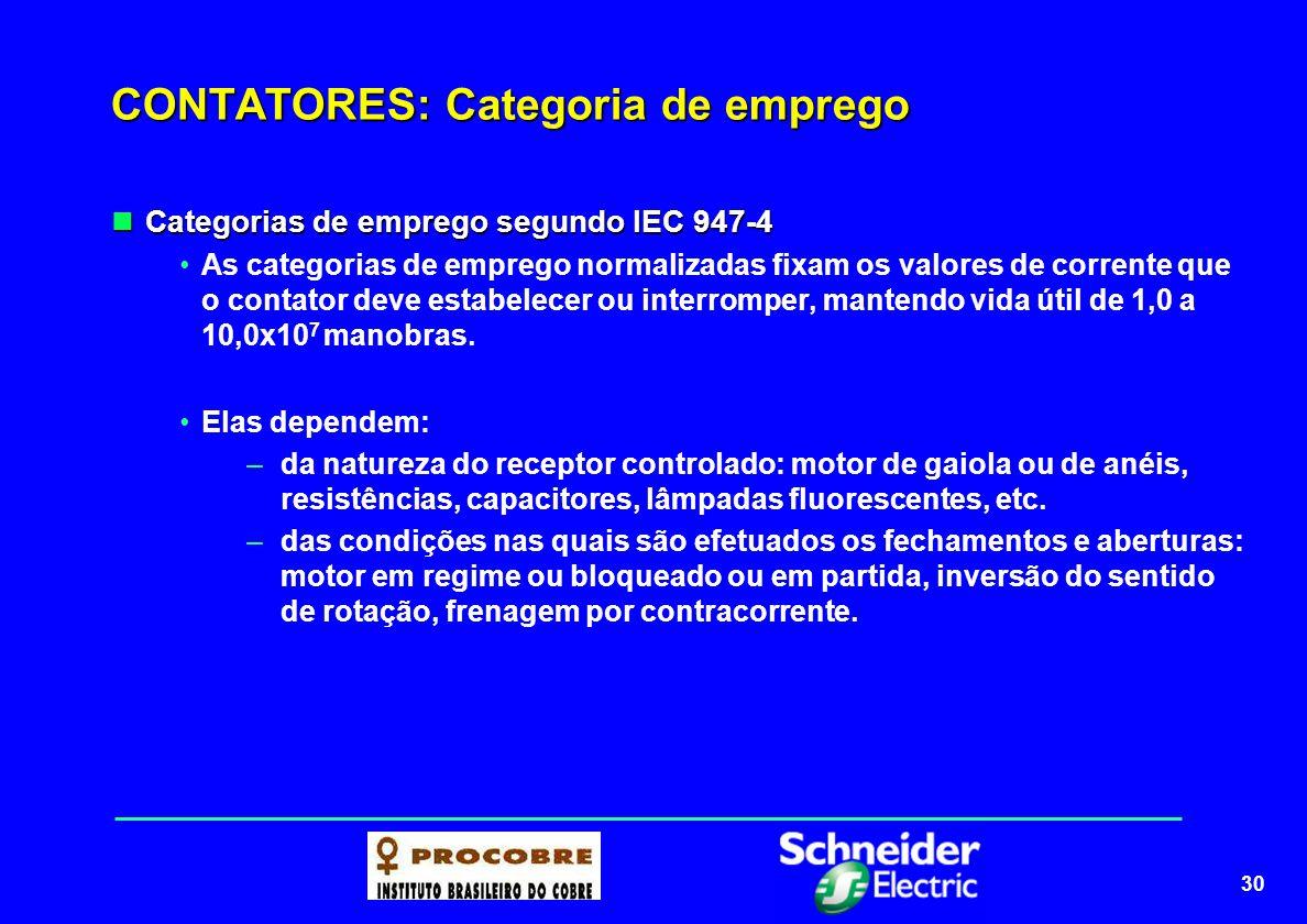 31 CONTATORES: Categoria de emprego de motores As categorias de emprego em corrente alternada As categorias de emprego em corrente alternada