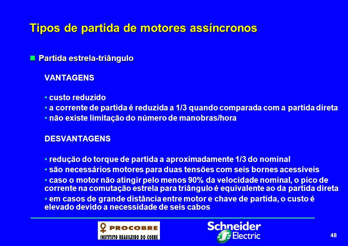 49 Tipos de partida de motores Partida por autotransformador Partida por autotransformador O motor é alimentado com tensão reduzida através de um autotransformador, que é desligado do circuito no final da partida.