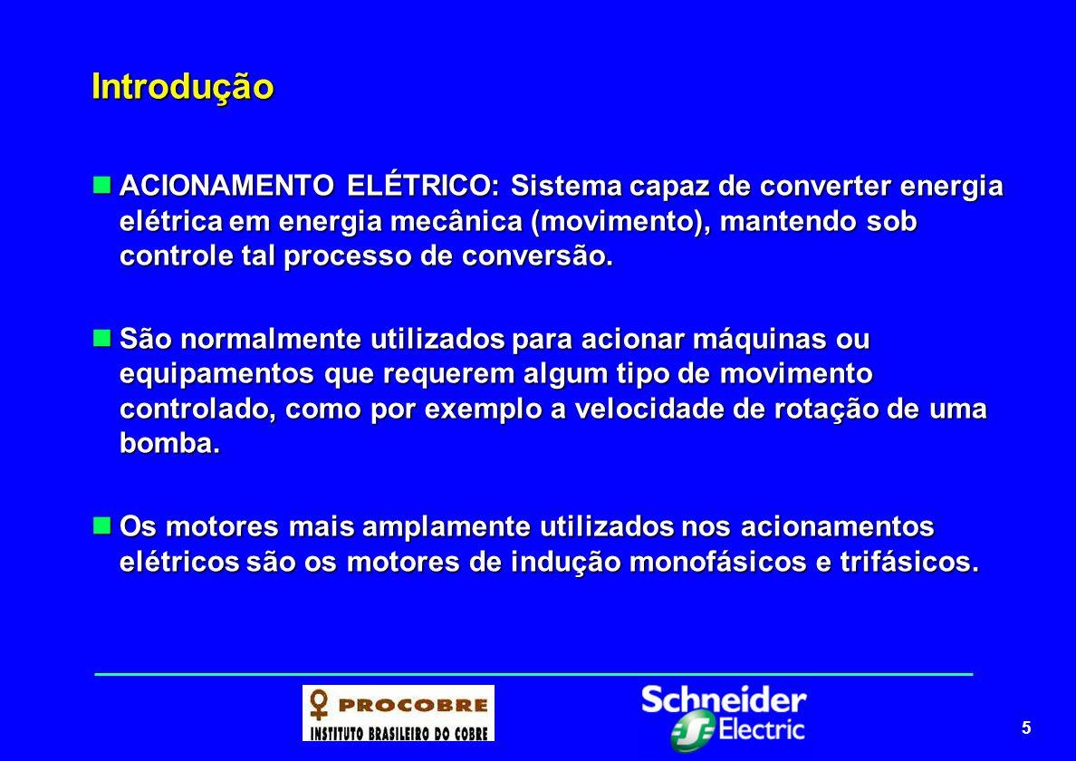 6 Introdução Um acionamento elétrico moderno é formado normalmente pela combinação dos seguintes elementos: Um acionamento elétrico moderno é formado normalmente pela combinação dos seguintes elementos: MOTOR: converte energia elétrica em energia mecânica DISPOSITIVO ELETRÔNICO: comanda e/ou controla a potência elétrica TRANSMISSÃO MECÂNICA: adapta a velocidade e inércia entre motor e máquina (carga)