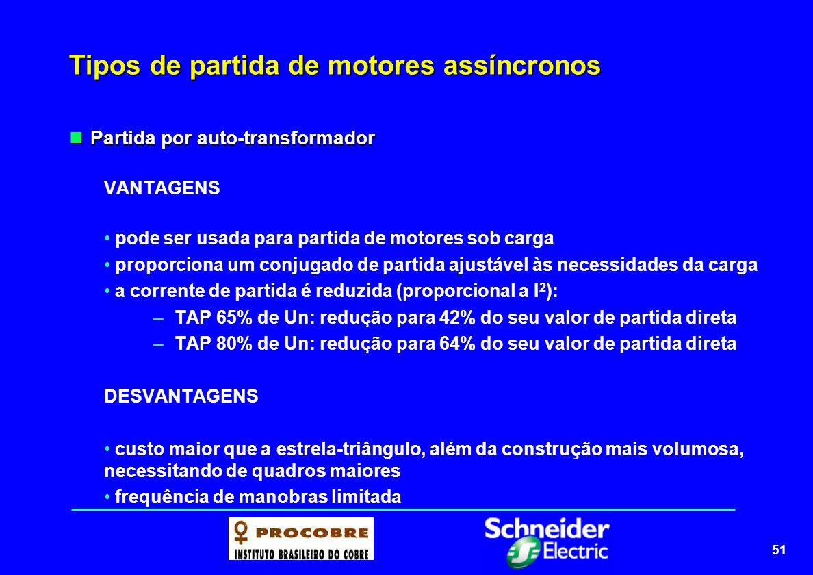 52 Tipos de partida de motores assíncronos QUADRO COMPARATIVO Tipo de chaveTensãoIpTorquePartida Direta100%IpCpA plena carga Estrela-triângulo58%Ip x 0,33Cp x 0,33Praticam.