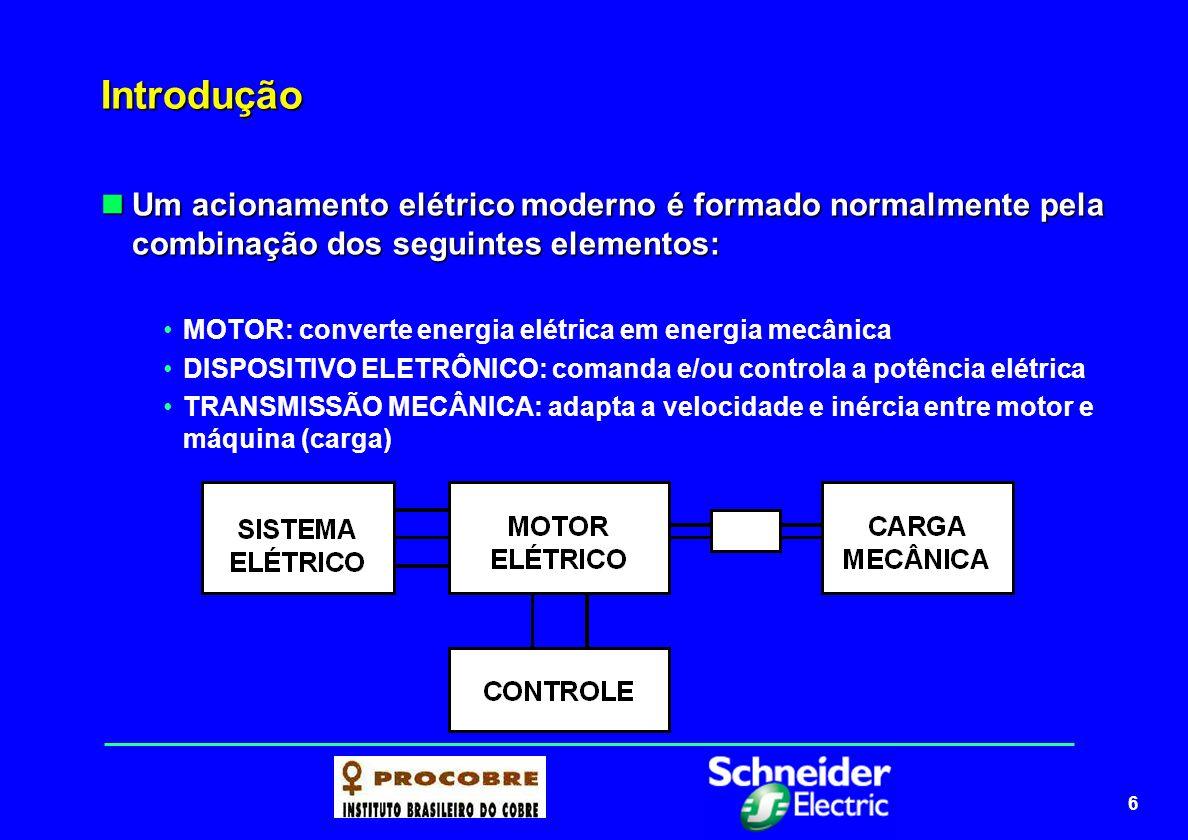 7 Introdução A escolha do motor e de seus dispositivos de partida e parada, mesmo influenciada por aspectos ambientais, está diretamente relacionada com a carga mecânica a ser acionada e ao impacto dela no sistema elétrico.