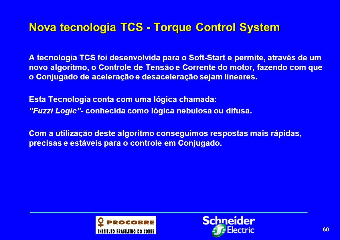 61 Nova tecnologia TCS - Torque Control System Vantagens do controle do conjugado Vantagens do controle do conjugado Soft-Start controle em tensãoSoft-Start controle em conjugado