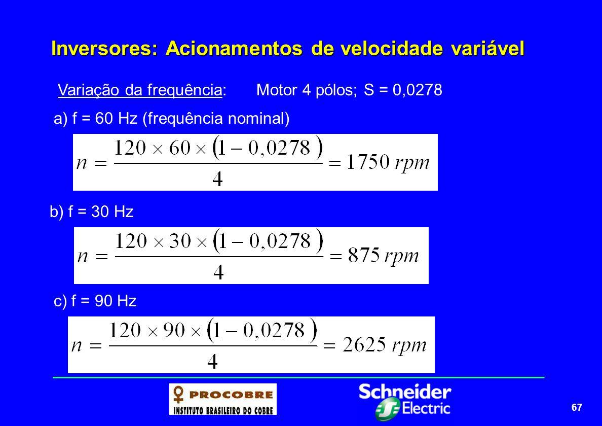 68 Inversores: Acionamentos de velocidade variável O QUE QUEREMOS???: O ideal será obtermos uma variação da frequência que vamos aplicar ao enrolamento estatórico do motor, conseguindo assim alterar a rotação do motor, mas com TORQUE CONSTANTE.