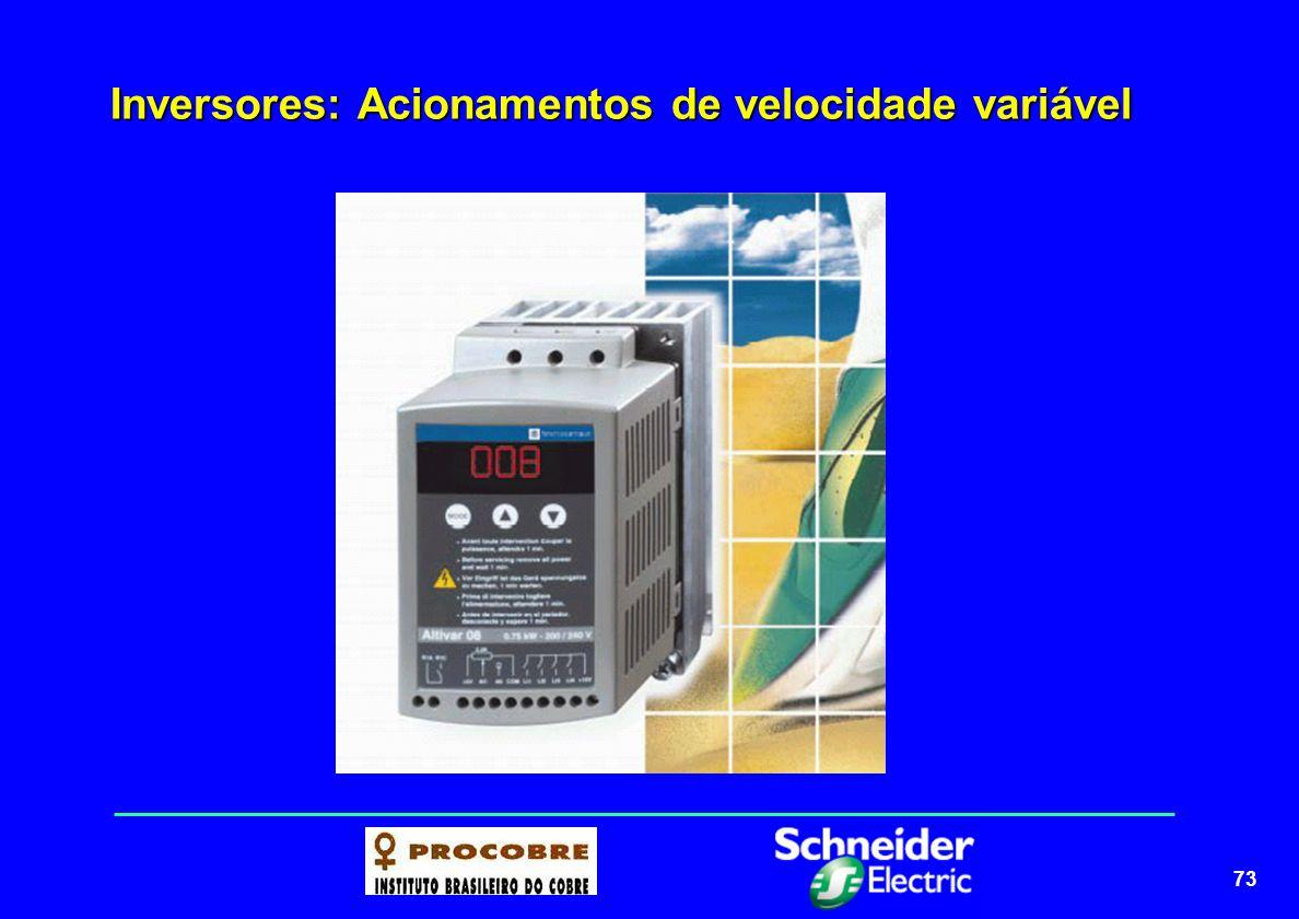 74 Inversores: Acionamentos de velocidade variável ETAPA DE ENTRADA (RETIFICADORA) ETAPA DE ENTRADA (RETIFICADORA) Composta de pontes trifásicas de diodos, que fazem o papel de retificação da tensão e frequência alternada da rede com valor fixo (ex, 220V-60Hz), transformando-a em corrente contínua.